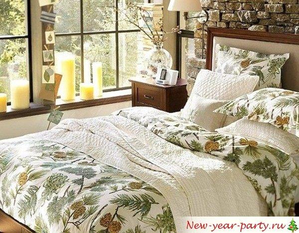 рождественский интерьер спальни