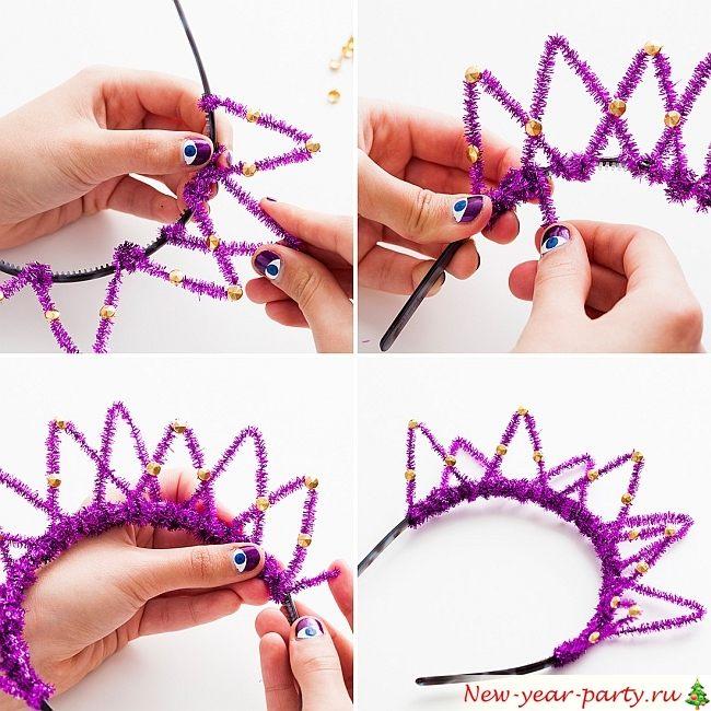 Как сделать корону из проволоки и мишуры