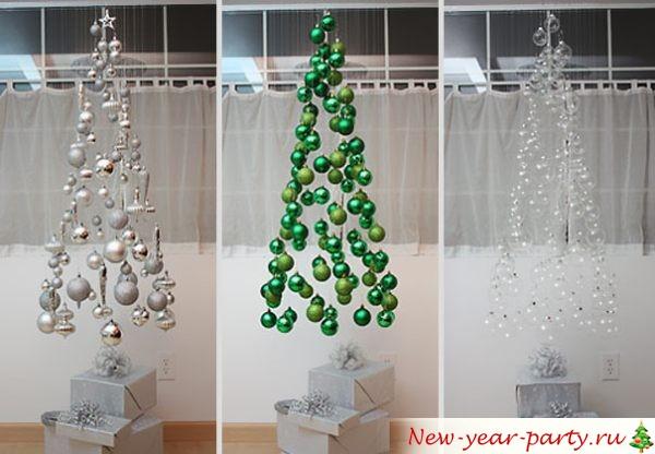 елки из шаров на леске
