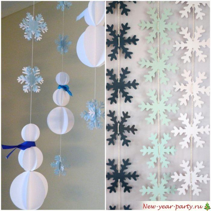 Вертикальные подвески из снежинок