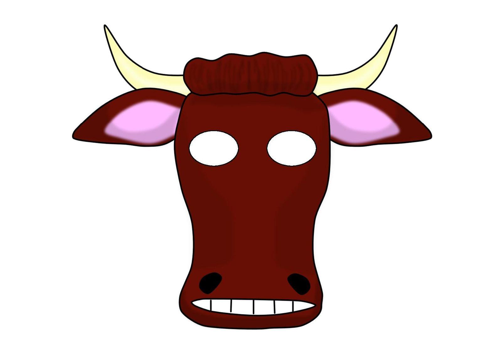 Маска коровы, зебры, жирафа на голову - распечатай шаблон