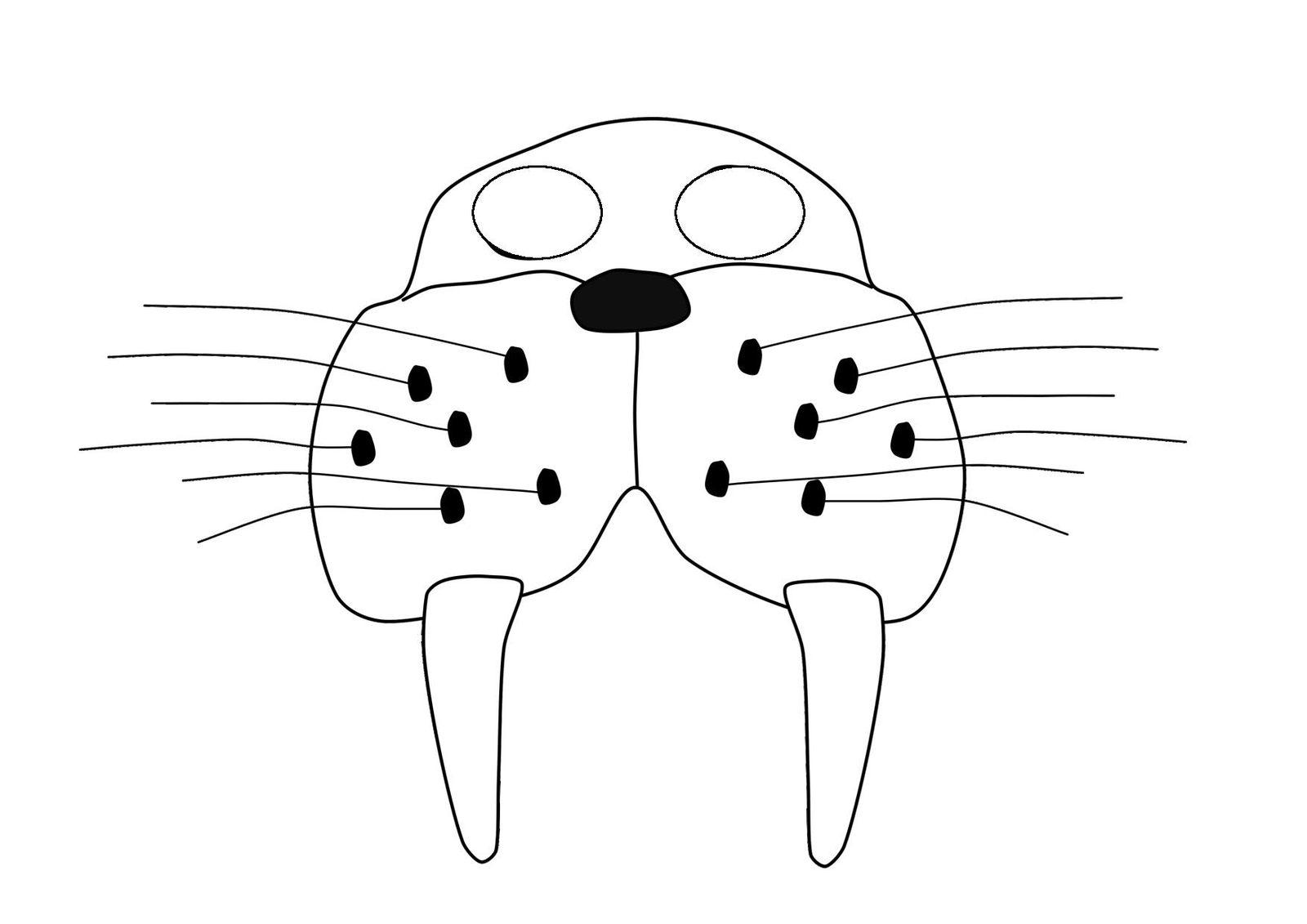 Маска Моржа из бумаги - шаблон для скачивания и распечатки