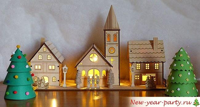 Новогодние домик из картона своими руками