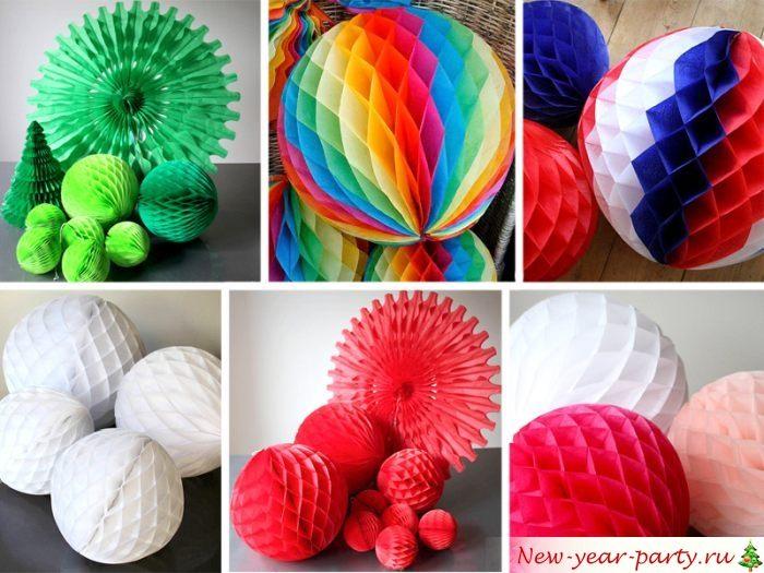 Новогодние шары-соты из бумаги