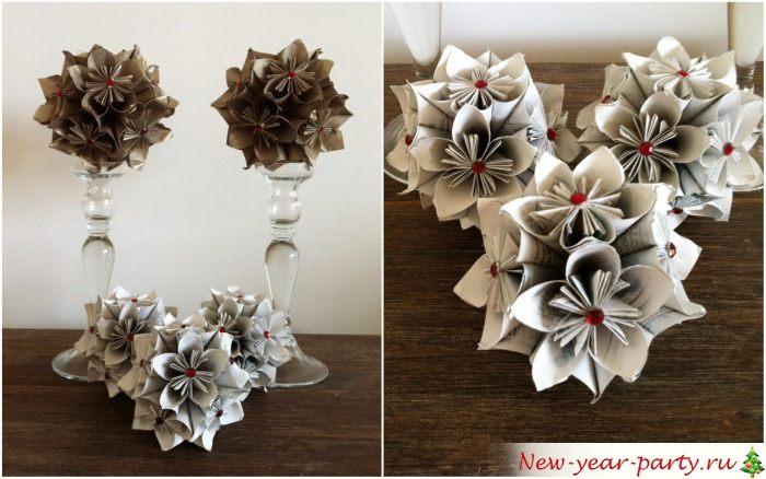 Оригами из цветов в интерьере