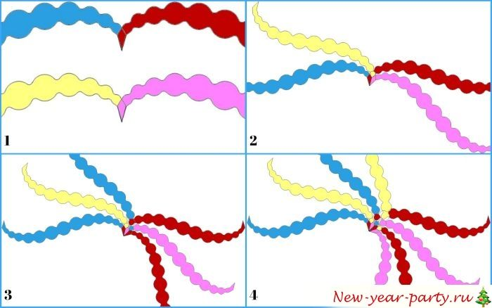 Схема соединения разноцветных полосок