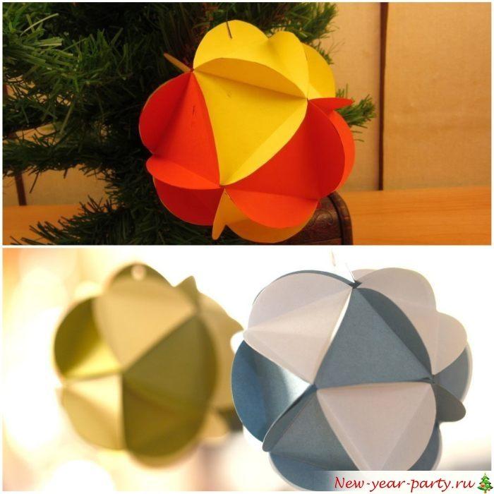 Шарики из разноцветных треугольников