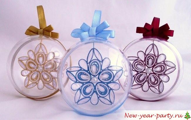 Новогодние шары квиллинг