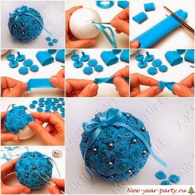 Елочные шары своими руками из пенопластовых шаров 7