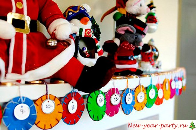 новогодний календарь из фетра