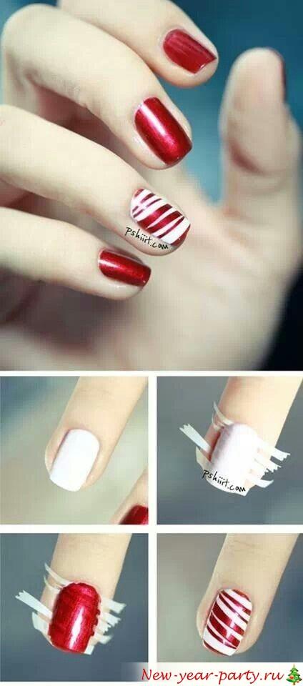 как сделать полоски на ногтях