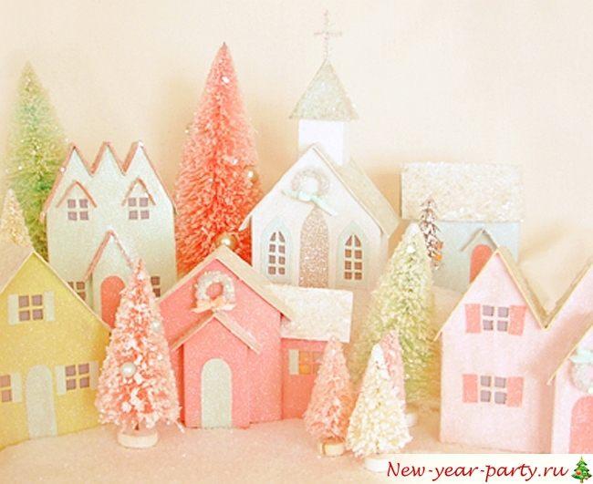 Рождественские домики из картона своими руками