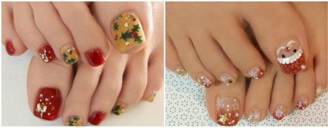 Новогоднее украшение на ногтях