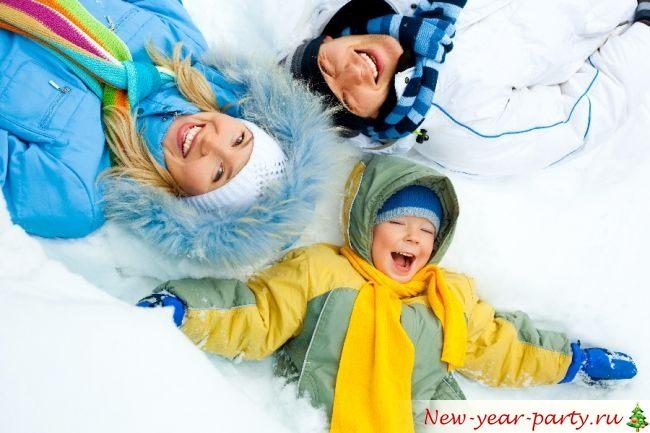 Семья и снег