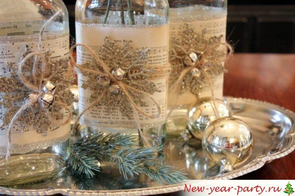 декор новогодних бутылок