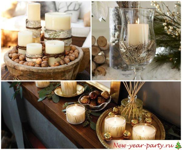 Композиция на Новый год из свечей и орехов