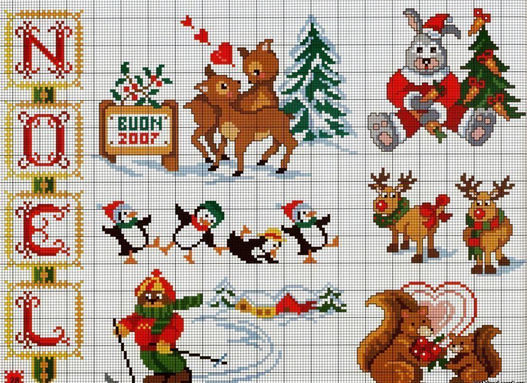 Схема маленькой вышивки крестом новый год