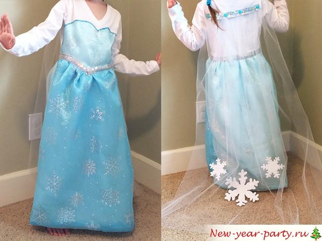 Красивое платье Эльзы в домашних условиях