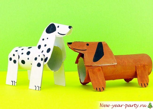Собаки из рулонов от туалетной бумаги