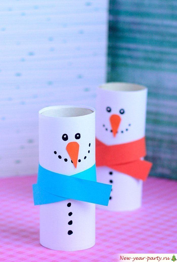 Снеговик из бумажной втулки