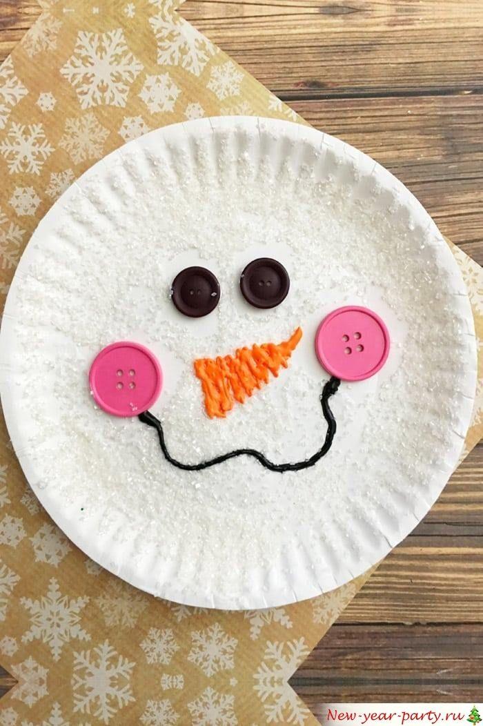 Снеговик из тарелки