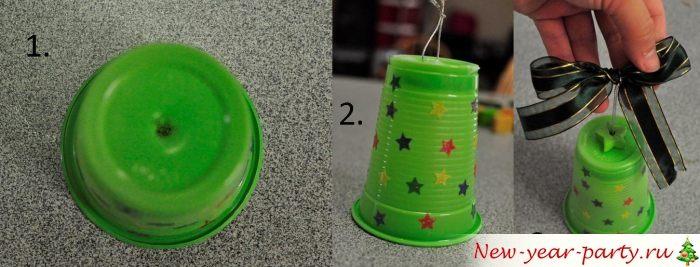Новогоднее украшение из пластикового стакана