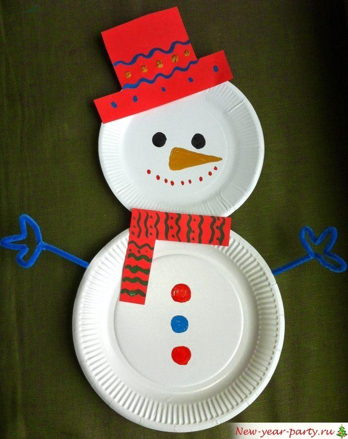 Снеговик из двух тарелок