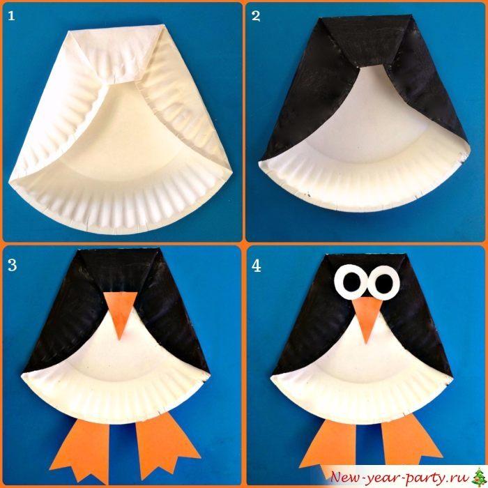 Как сделать пингвина из тарелки?