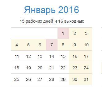 Праздничные дни в январе 2016 года
