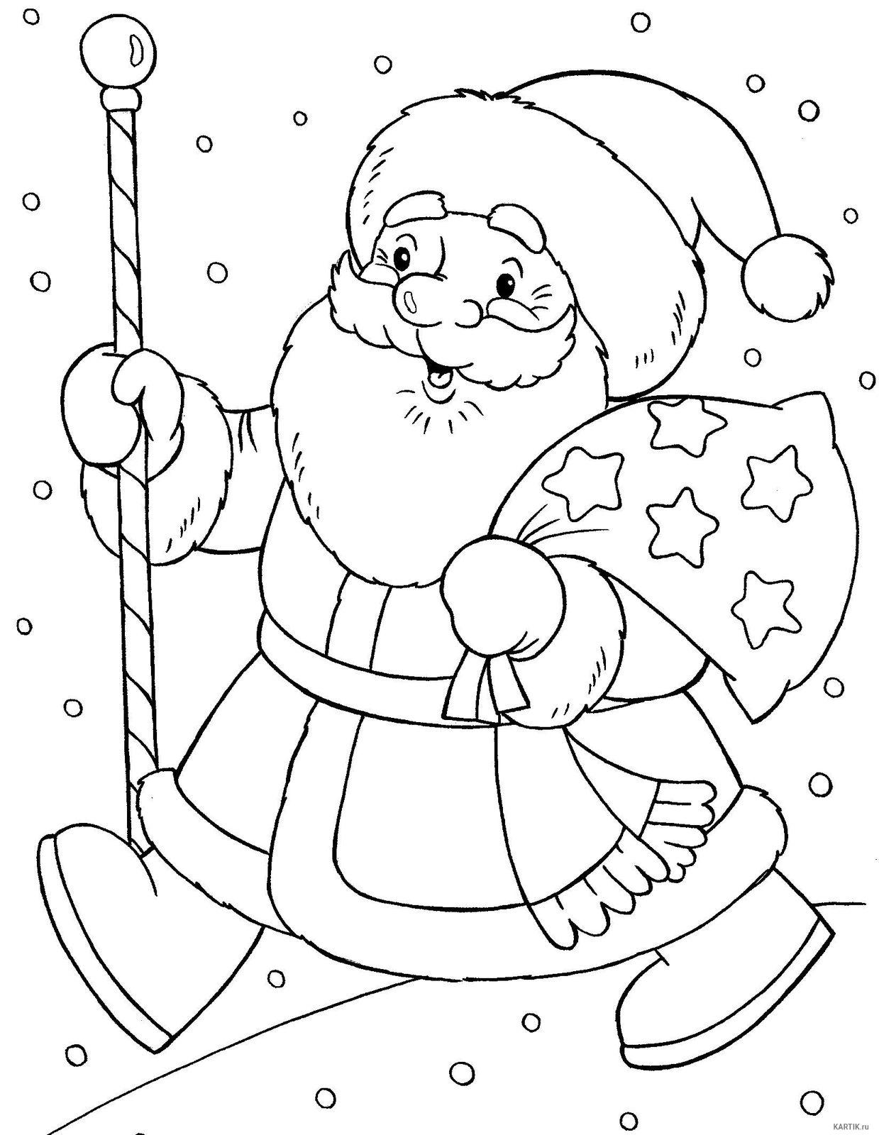 Раскраска Дед Мороз для детей - распечатать мега-набор!
