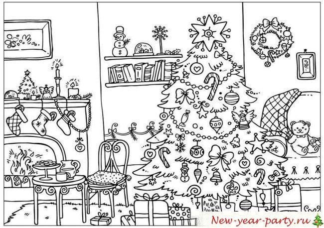 Новогодние ёлки раскраски