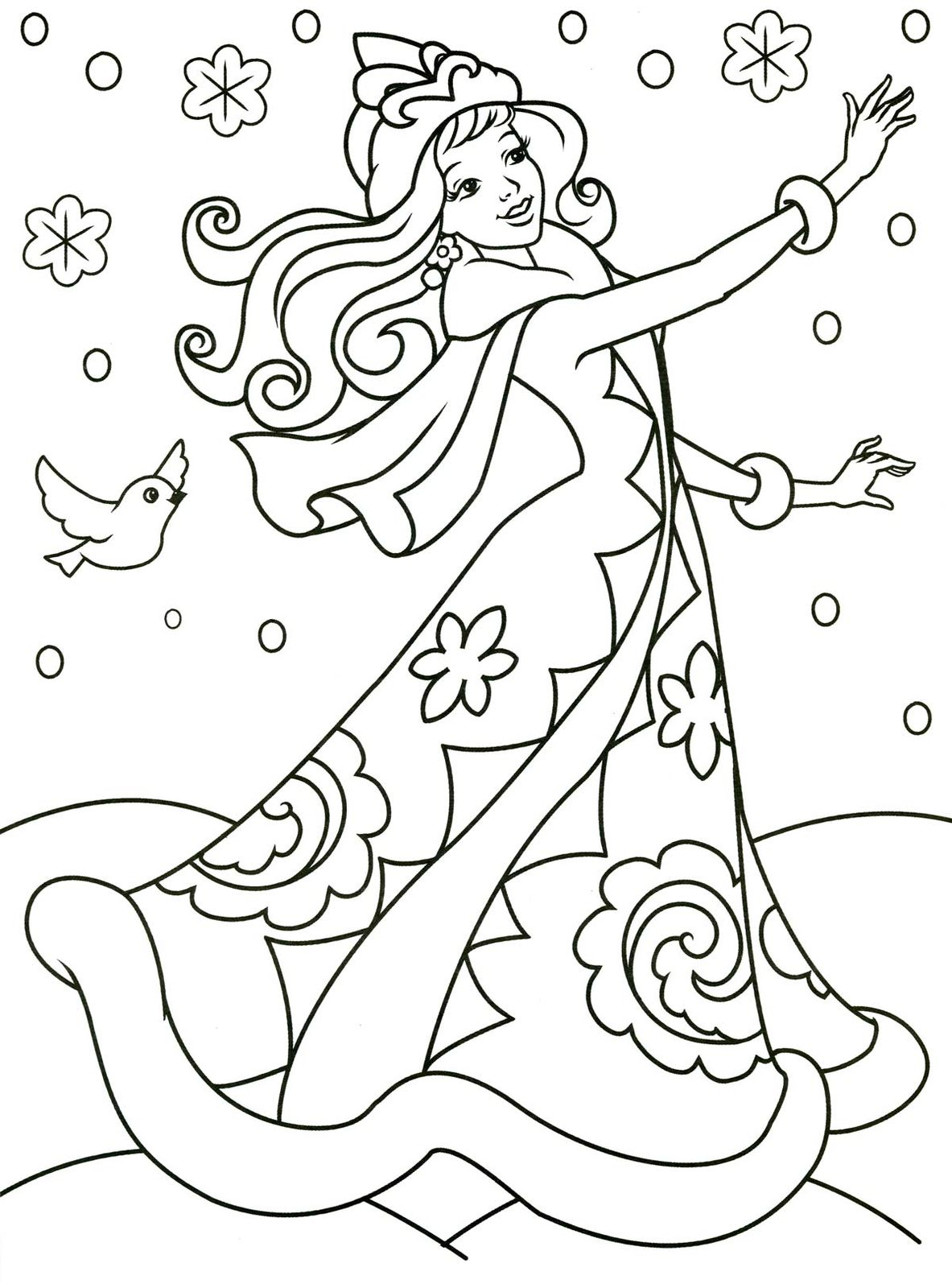 Разукрашки для девочек распечатать новый год