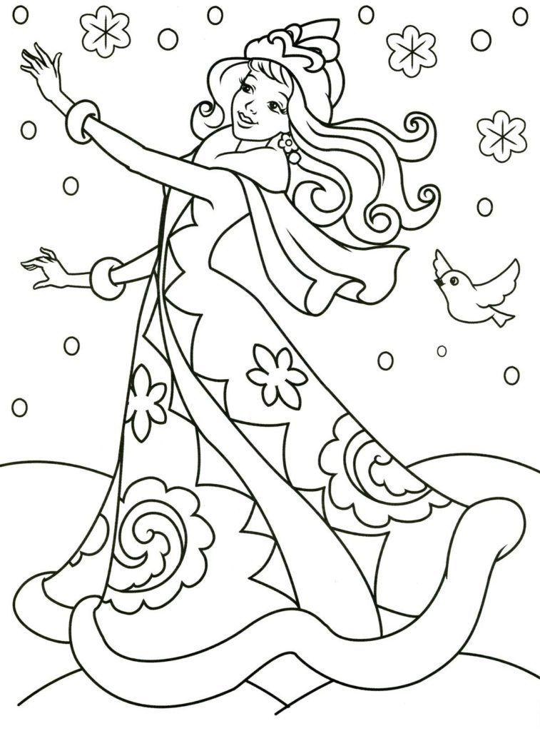 Раскрашиваем снежную девушку