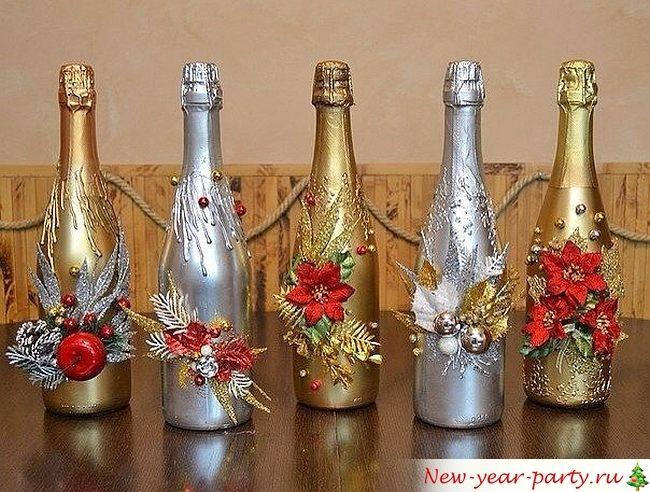 Шампанское украшение на новый год