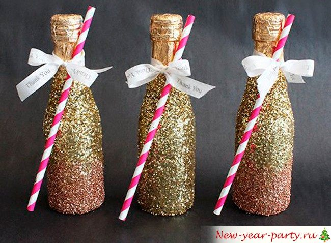 Украшение новогоднего шампанского 2015