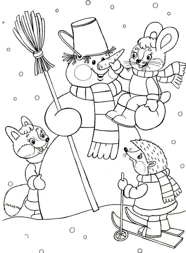 Раскраска Снеговик для детей, распечатать 40 красивых шаблонов