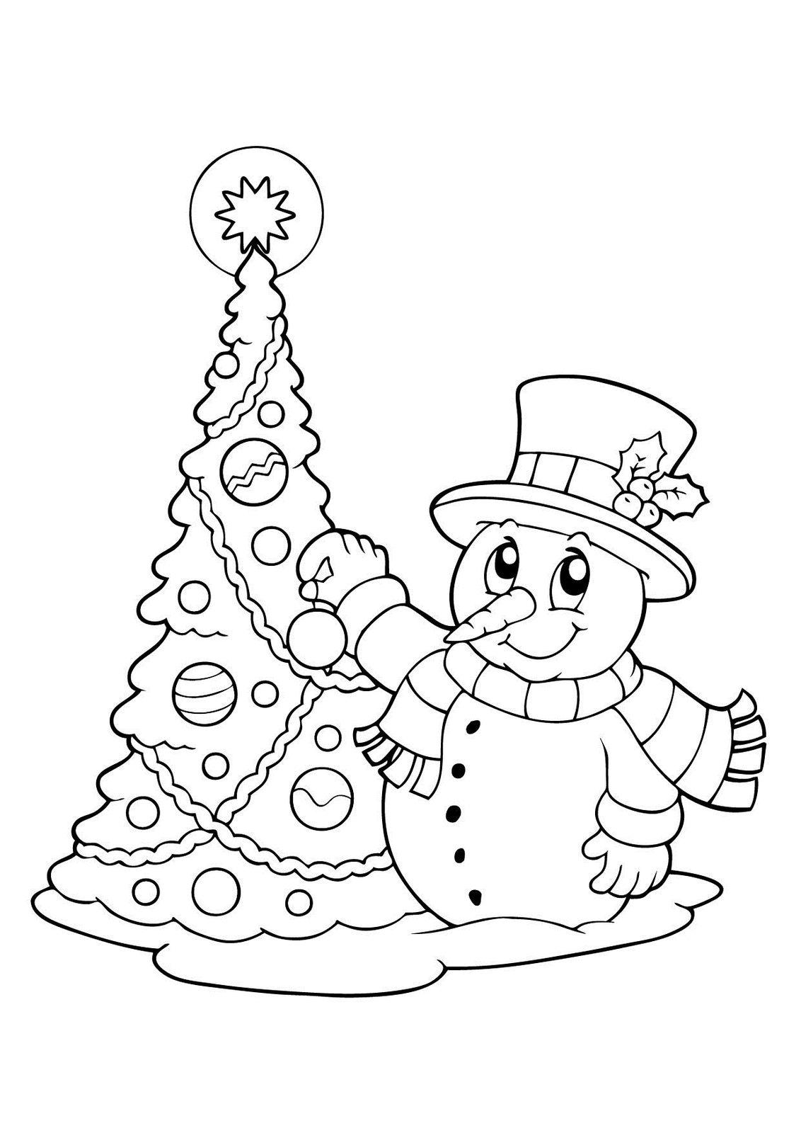 Раскраска Снеговик для детей, распечатать 40 красивых шаблонов картинки