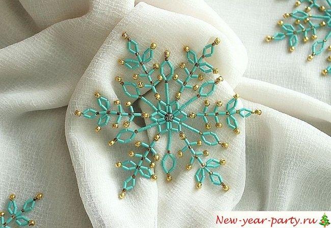 Схемы снежинок из бисера