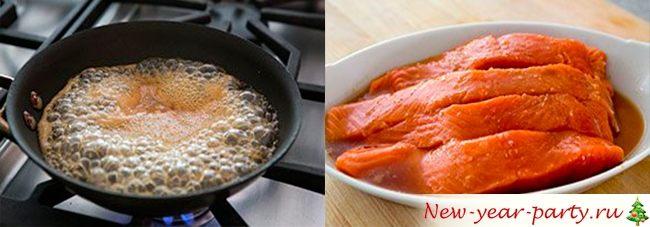 как пожарить стейк красной рыбы