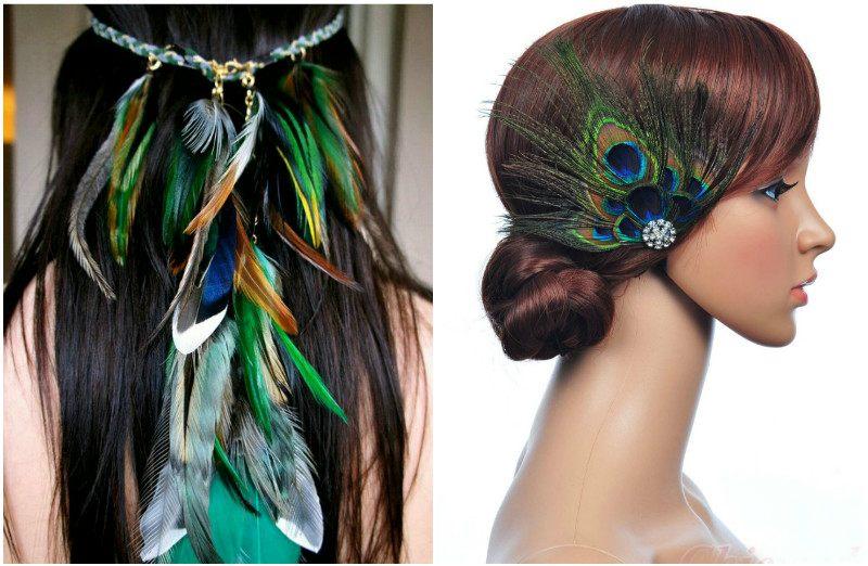 Перья в волосах