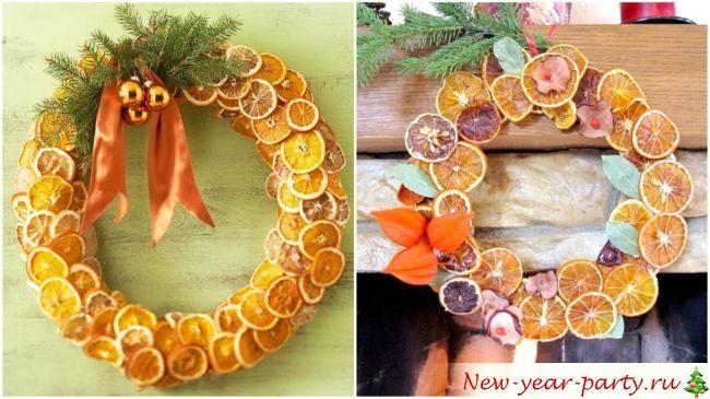 Новогодний венок из мандаринов