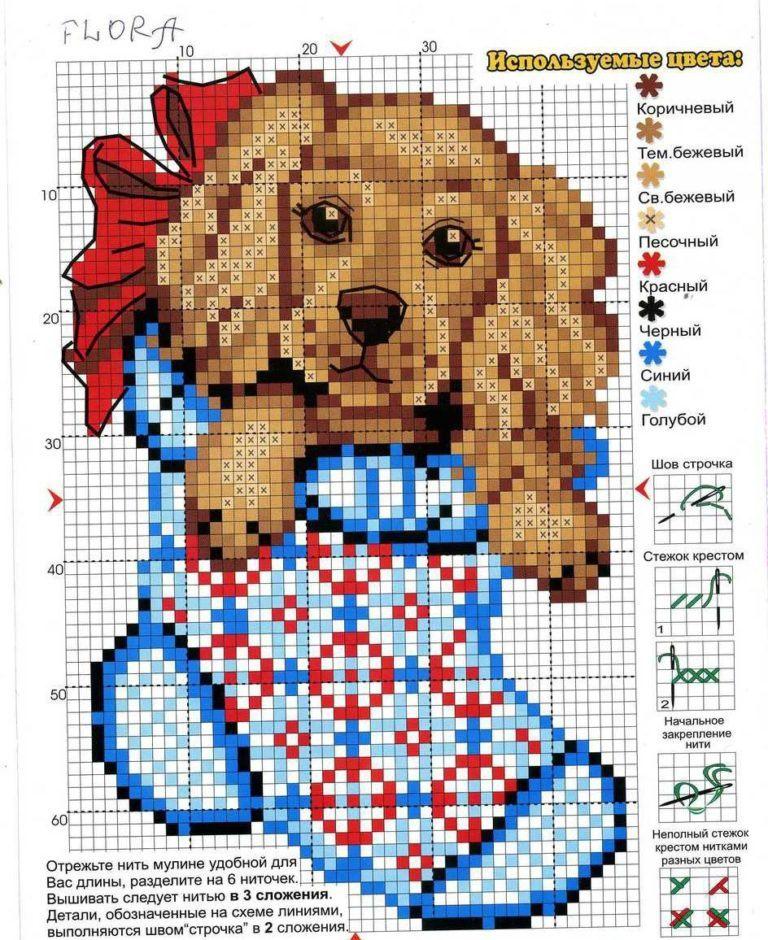 Схемы вышивки крестов символа года собаки