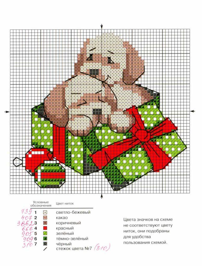 Вышивка новогодней Собаки