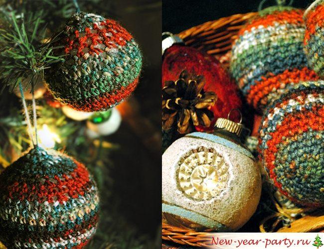 Как сделать новогодний шар из ниток своими руками