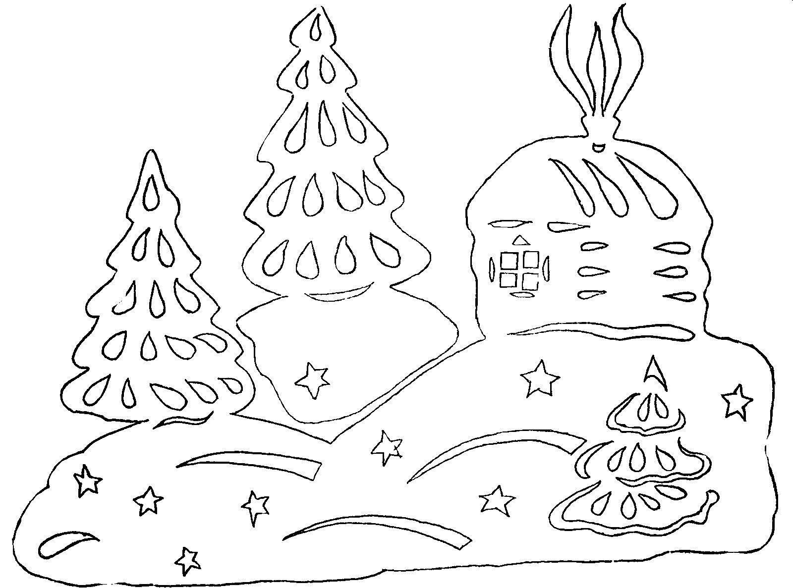 Домики шаблоны для вырезания на новый год